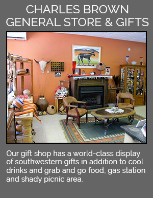 Our gift shop has a world-class display of southwestern gifts in addition to cool drinks and grab and go food, gas station and shady picnic area.