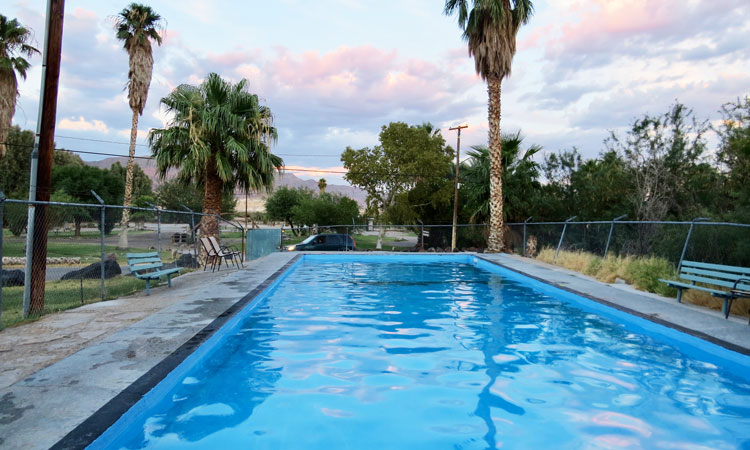 Shoshone Village hot springs swimming pool.