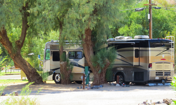 Pull through RV space at Shoshone RV Park.